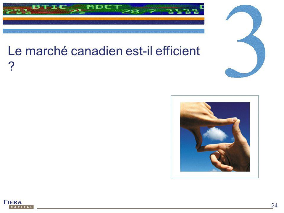 24 Le marché canadien est-il efficient ?