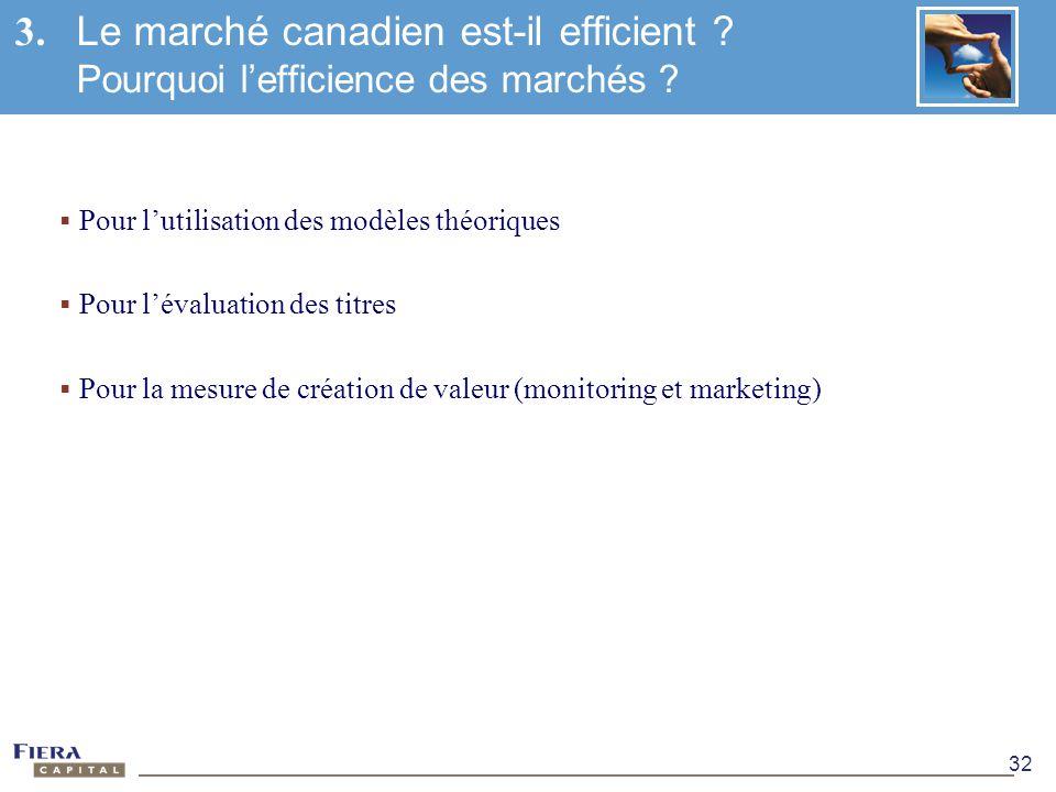 32 Pour lutilisation des modèles théoriques Pour lévaluation des titres Pour la mesure de création de valeur (monitoring et marketing) 3. Le marché ca