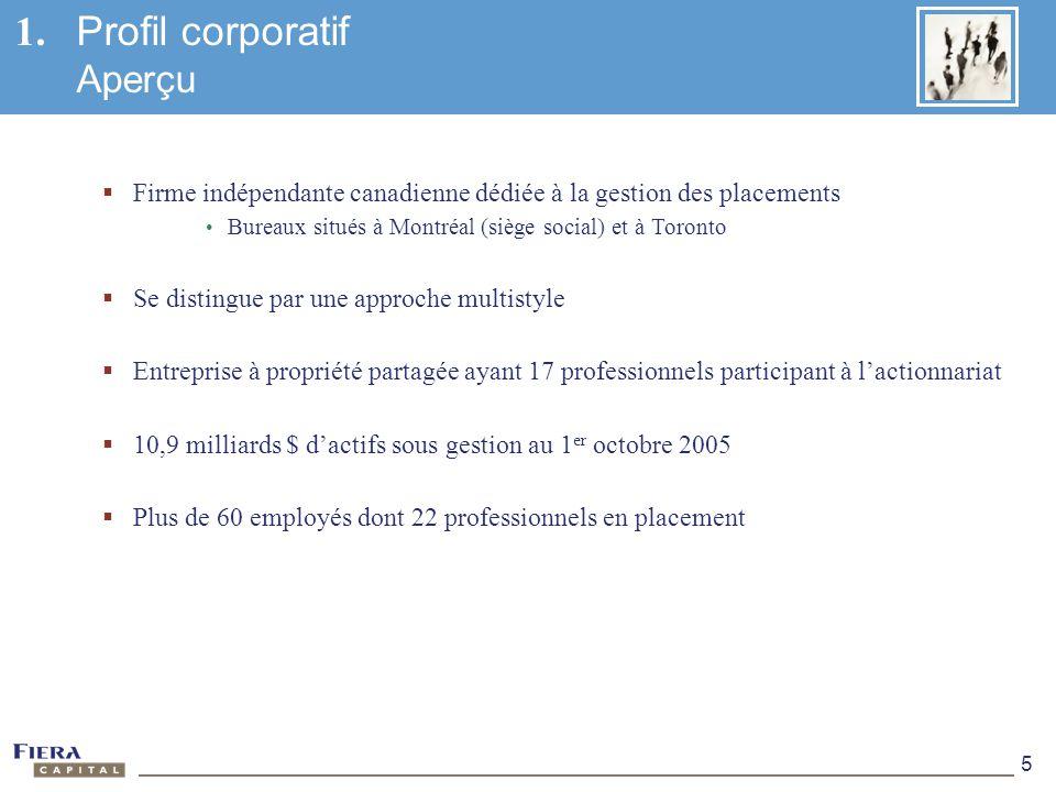 5 1. Profil corporatif Aperçu Firme indépendante canadienne dédiée à la gestion des placements Bureaux situés à Montréal (siège social) et à Toronto S