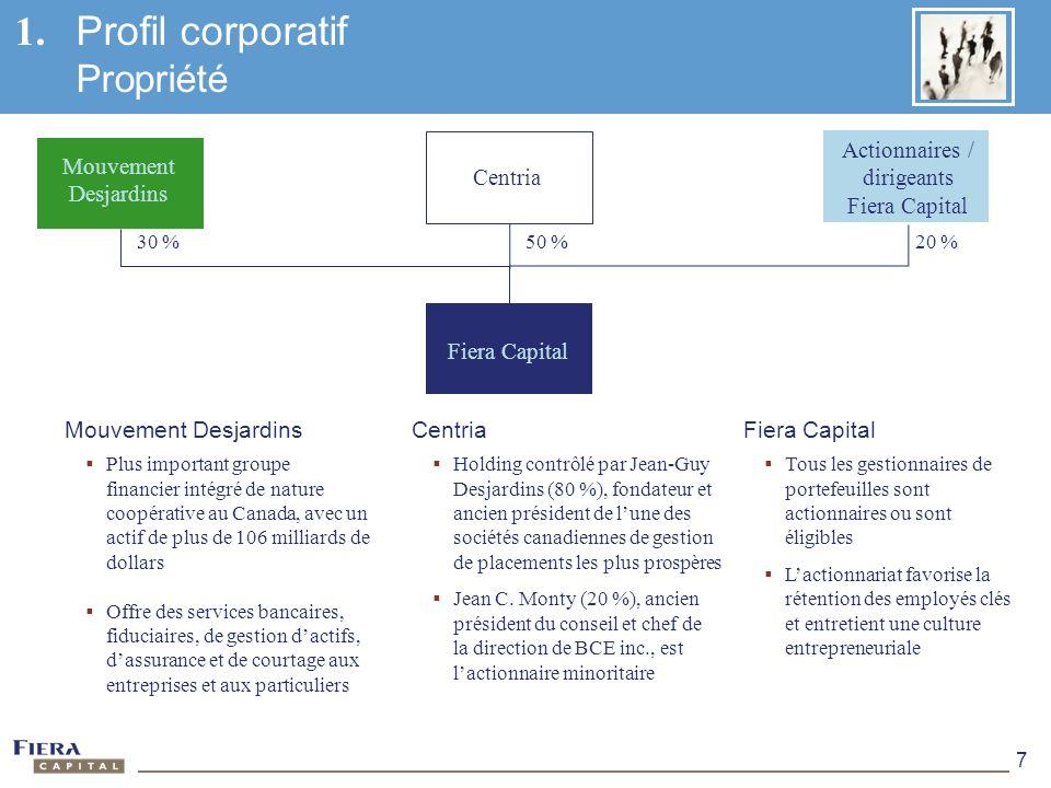 7 1. Profil corporatif Propriété Centria Holding contrôlé par Jean-Guy Desjardins (80 %), fondateur et ancien président de lune des sociétés canadienn