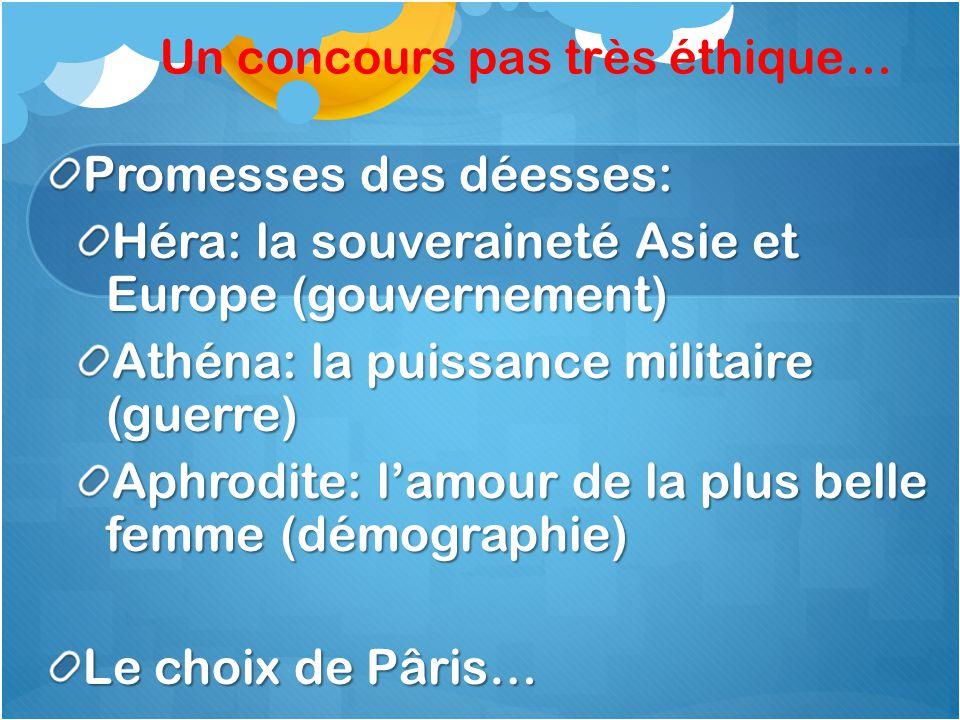 Un concours pas très éthique… Promesses des déesses: Héra: la souveraineté Asie et Europe (gouvernement) Athéna: la puissance militaire (guerre) Aphrodite: lamour de la plus belle femme (démographie) Le choix de Pâris…