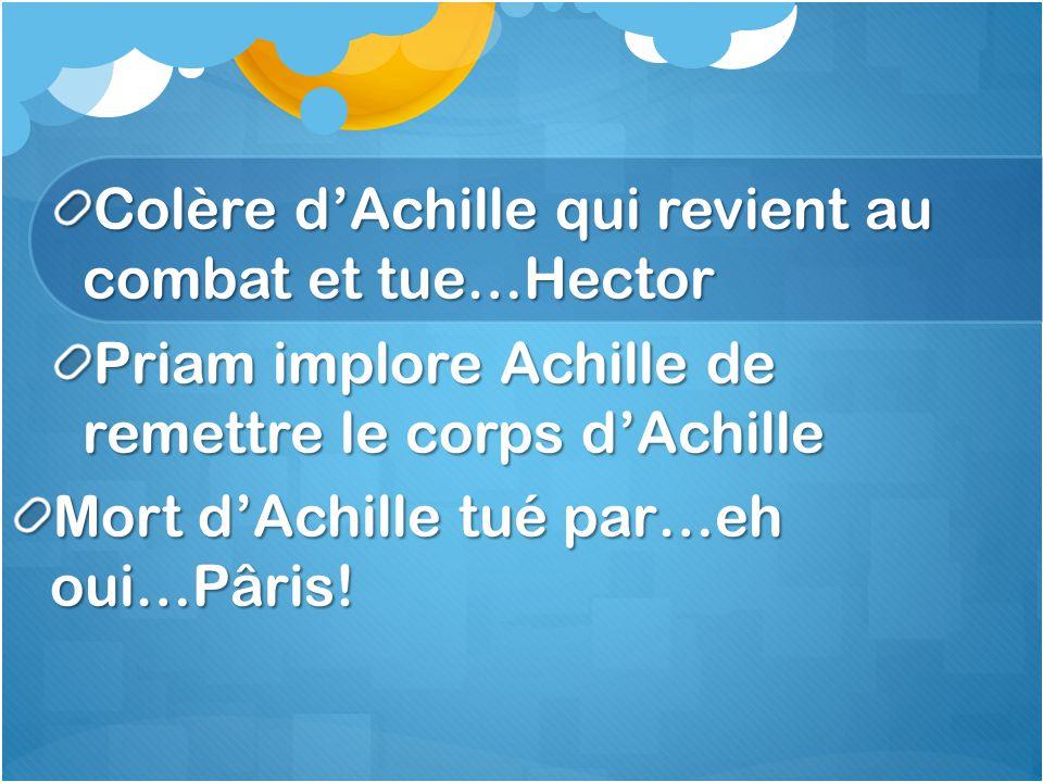 Colère dAchille qui revient au combat et tue…Hector Priam implore Achille de remettre le corps dAchille Mort dAchille tué par…eh oui…Pâris!