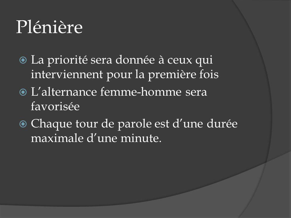 Plénière La priorité sera donnée à ceux qui interviennent pour la première fois Lalternance femme-homme sera favorisée Chaque tour de parole est dune durée maximale dune minute.