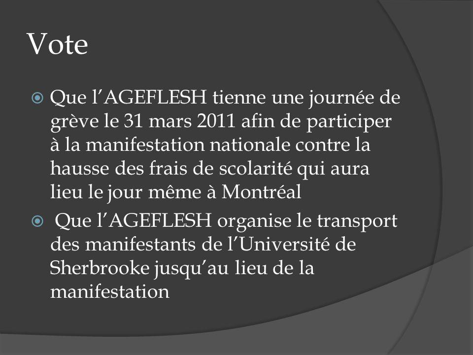 Vote Que lAGEFLESH tienne une journée de grève le 31 mars 2011 afin de participer à la manifestation nationale contre la hausse des frais de scolarité qui aura lieu le jour même à Montréal Que lAGEFLESH organise le transport des manifestants de lUniversité de Sherbrooke jusquau lieu de la manifestation