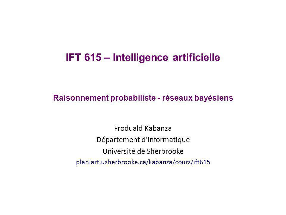 IFT 615 – Intelligence artificielle Raisonnement probabiliste - réseaux bayésiens Froduald Kabanza Département dinformatique Université de Sherbrooke