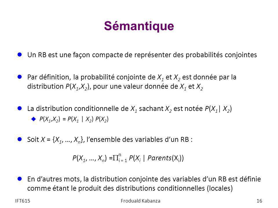 Sémantique Un RB est une façon compacte de représenter des probabilités conjointes Par définition, la probabilité conjointe de X 1 et X 2 est donnée p