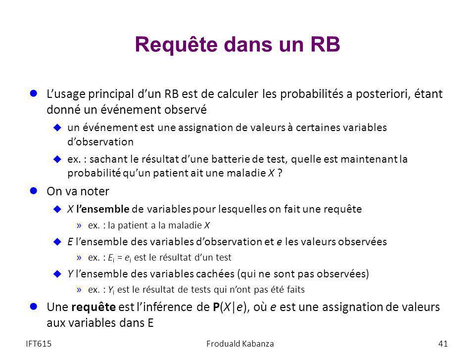 Requête dans un RB Lusage principal dun RB est de calculer les probabilités a posteriori, étant donné un événement observé un événement est une assign