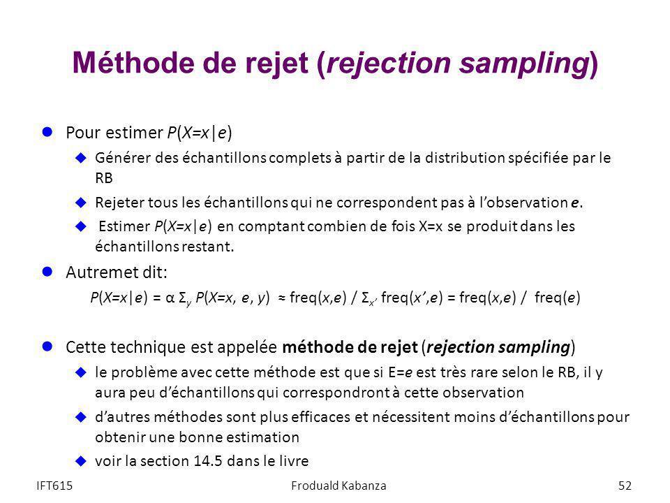 Méthode de rejet (rejection sampling) Pour estimer P(X=x e) Générer des échantillons complets à partir de la distribution spécifiée par le RB Rejeter