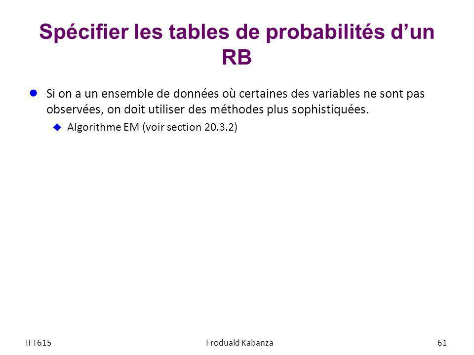 Spécifier les tables de probabilités dun RB Si on a un ensemble de données où certaines des variables ne sont pas observées, on doit utiliser des méth