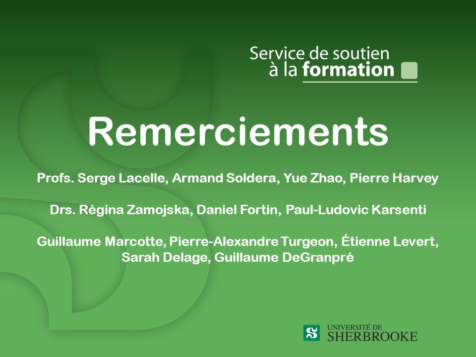 Remerciements Profs.Serge Lacelle, Armand Soldera, Yue Zhao, Pierre Harvey Drs.