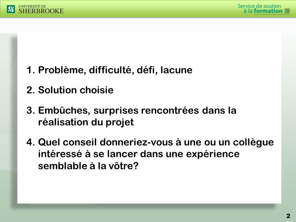 3 1.Problème, difficulté, défi, lacune Cours théoriques (CPH315, CPH317).