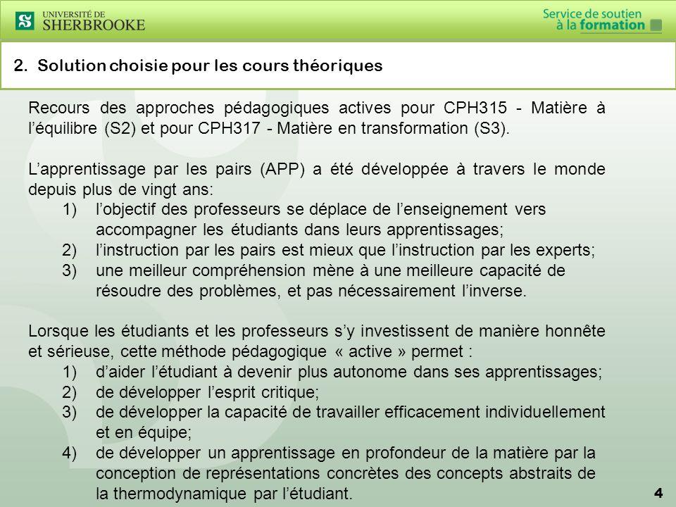 4 2. Solution choisie pour les cours théoriques Recours des approches pédagogiques actives pour CPH315 - Matière à léquilibre (S2) et pour CPH317 - Ma