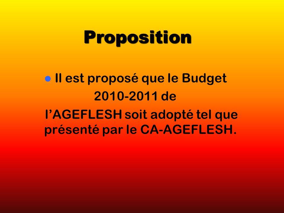 Proposition Il est proposé que le Budget 2010-2011 de lAGEFLESH soit adopté tel que présenté par le CA-AGEFLESH.