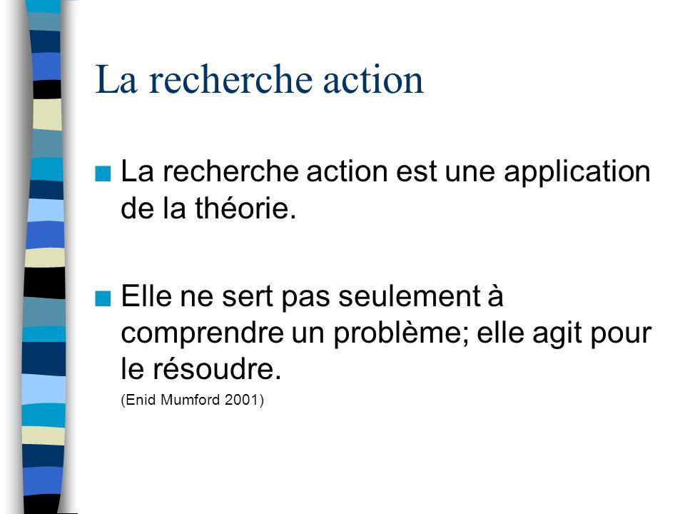 La recherche action n La recherche action est une application de la théorie.