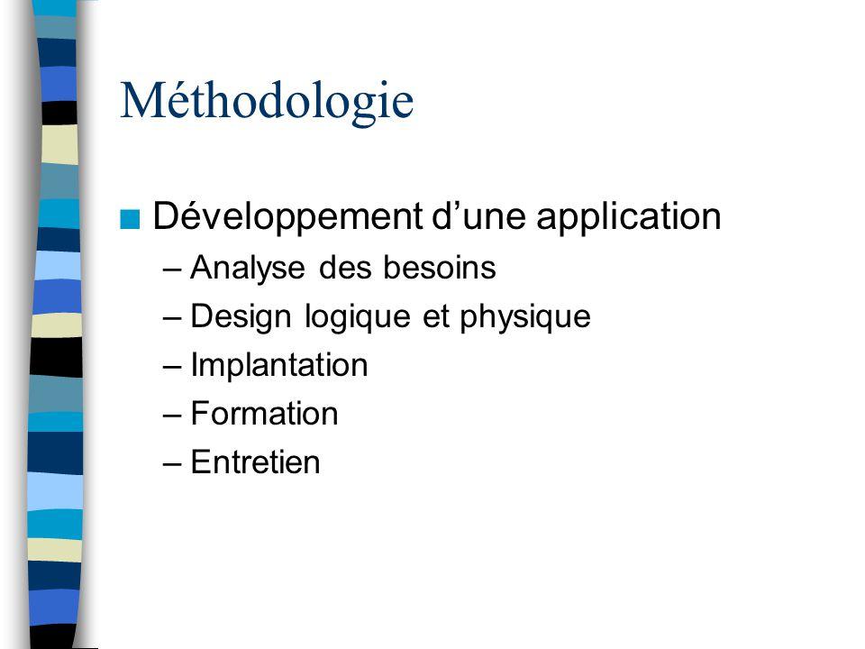 Méthodologie n Développement dune application –Analyse des besoins –Design logique et physique –Implantation –Formation –Entretien