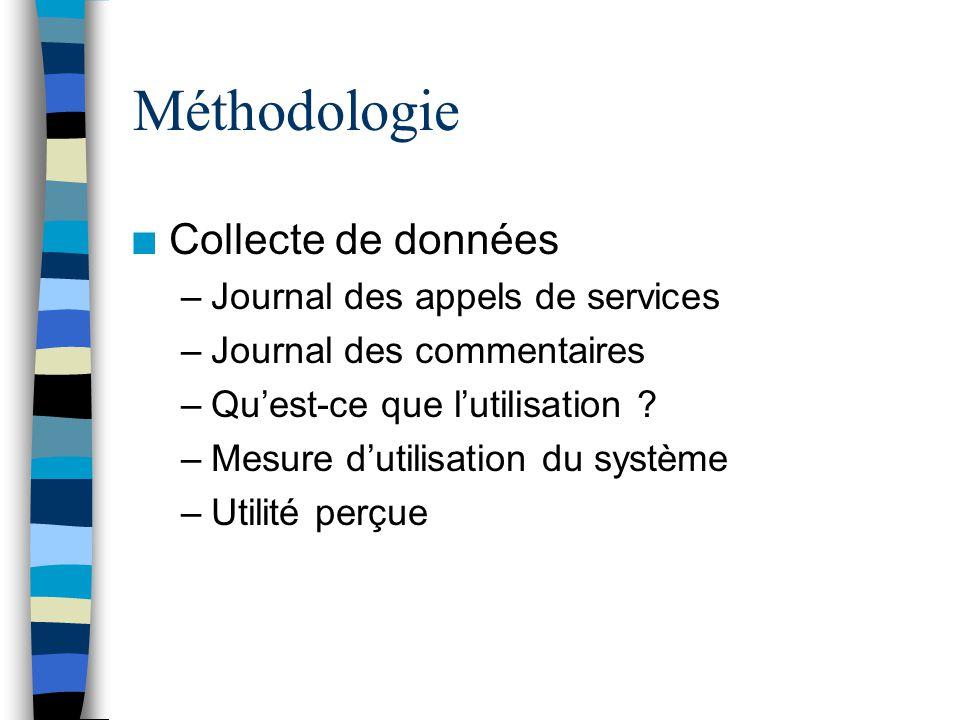 Méthodologie n Collecte de données –Journal des appels de services –Journal des commentaires –Quest-ce que lutilisation .