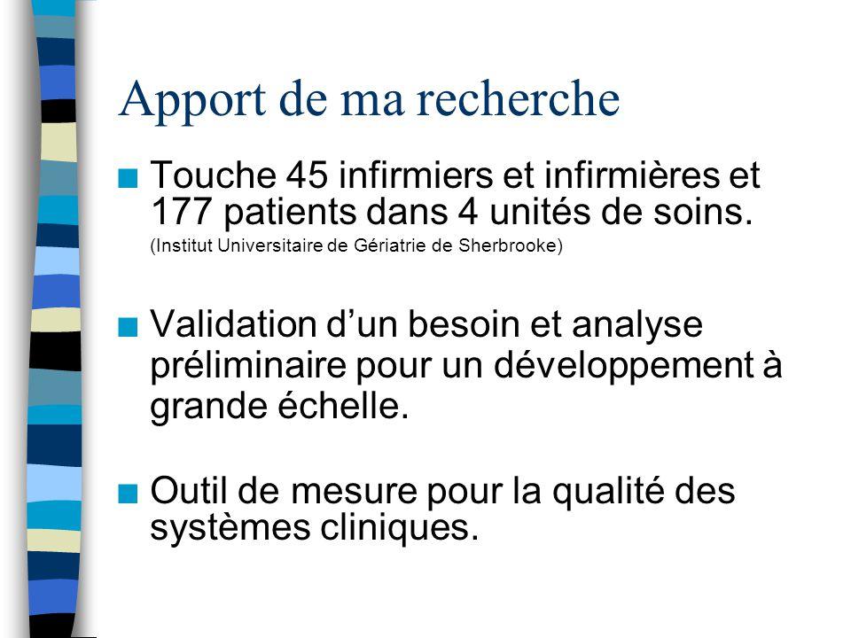Apport de ma recherche n Touche 45 infirmiers et infirmières et 177 patients dans 4 unités de soins.