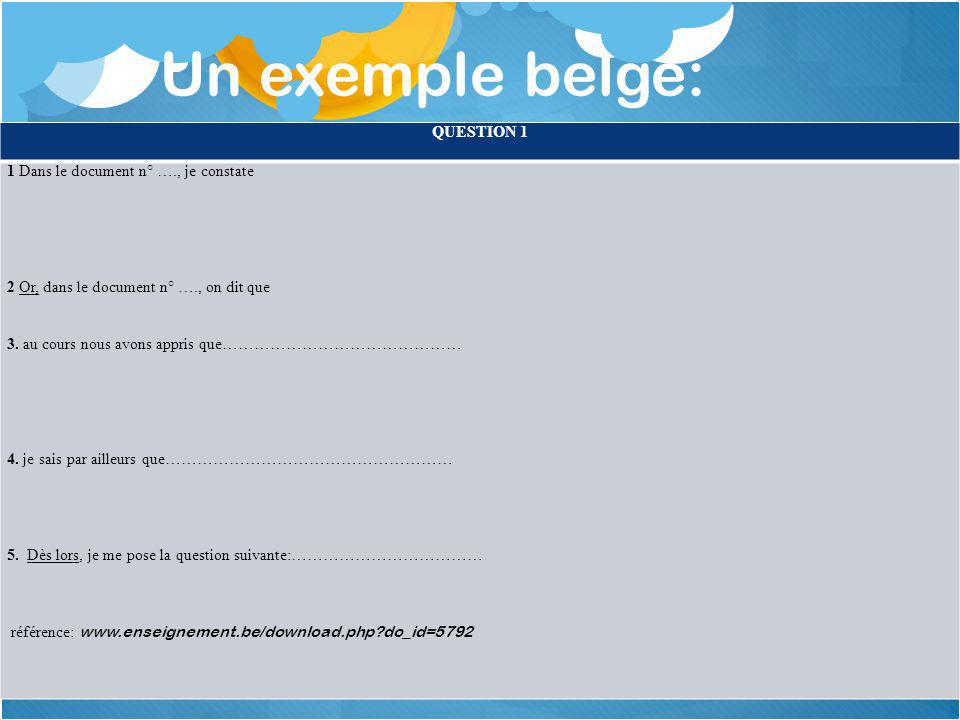 Un exemple belge: QUESTION 1 1 Dans le document n° …., je constate 2 Or, dans le document n° …., on dit que 3.