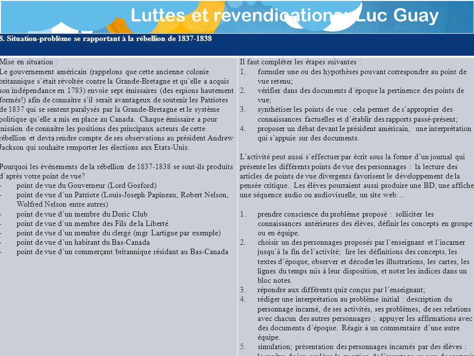 Luttes et revendications: Luc Guay 8.