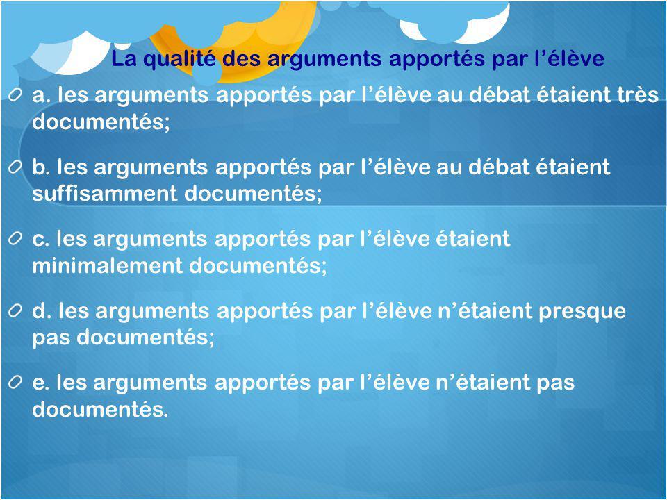La qualité des arguments apportés par lélève a.