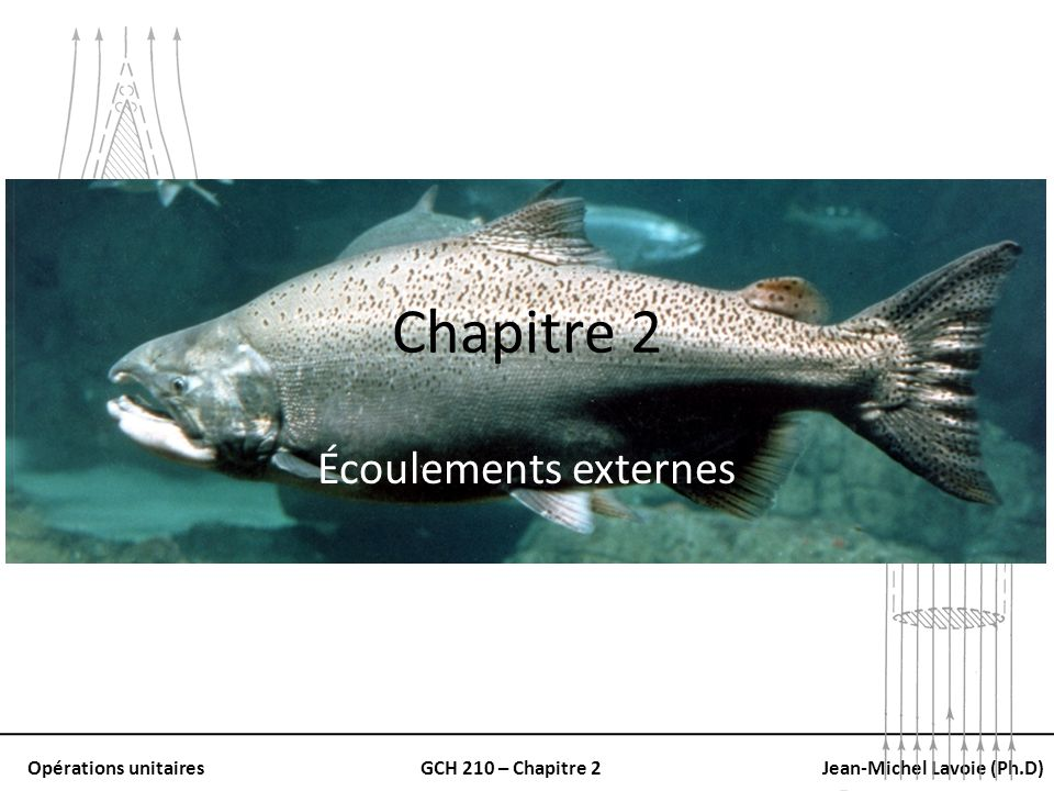 Opérations unitairesGCH 210 – Chapitre 2Jean-Michel Lavoie (Ph.D) Coefficient de traînée Stokes Intermédiaire Newton Trans-critique Re p = D p u o ρ / μ Pour des objets sphériques