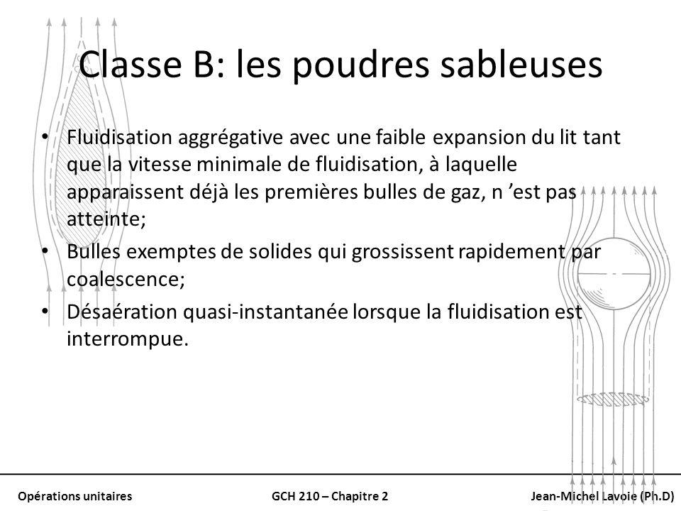 Opérations unitairesGCH 210 – Chapitre 2Jean-Michel Lavoie (Ph.D) Classe B: les poudres sableuses Fluidisation aggrégative avec une faible expansion d