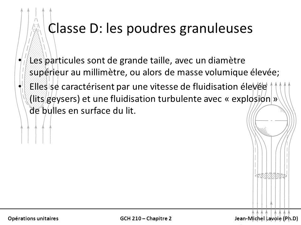 Opérations unitairesGCH 210 – Chapitre 2Jean-Michel Lavoie (Ph.D) Classe D: les poudres granuleuses Les particules sont de grande taille, avec un diam