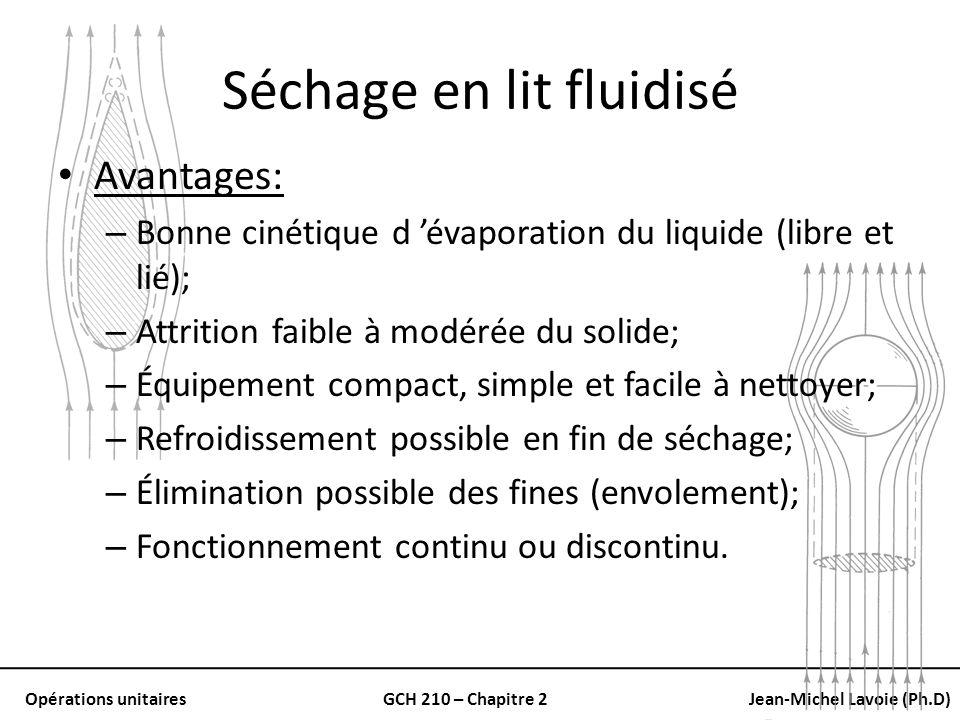 Opérations unitairesGCH 210 – Chapitre 2Jean-Michel Lavoie (Ph.D) Séchage en lit fluidisé Avantages: – Bonne cinétique d évaporation du liquide (libre