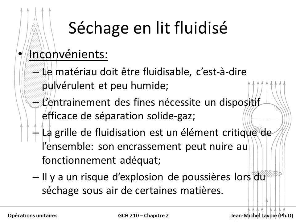 Opérations unitairesGCH 210 – Chapitre 2Jean-Michel Lavoie (Ph.D) Séchage en lit fluidisé Inconvénients: – Le matériau doit être fluidisable, cest-à-d