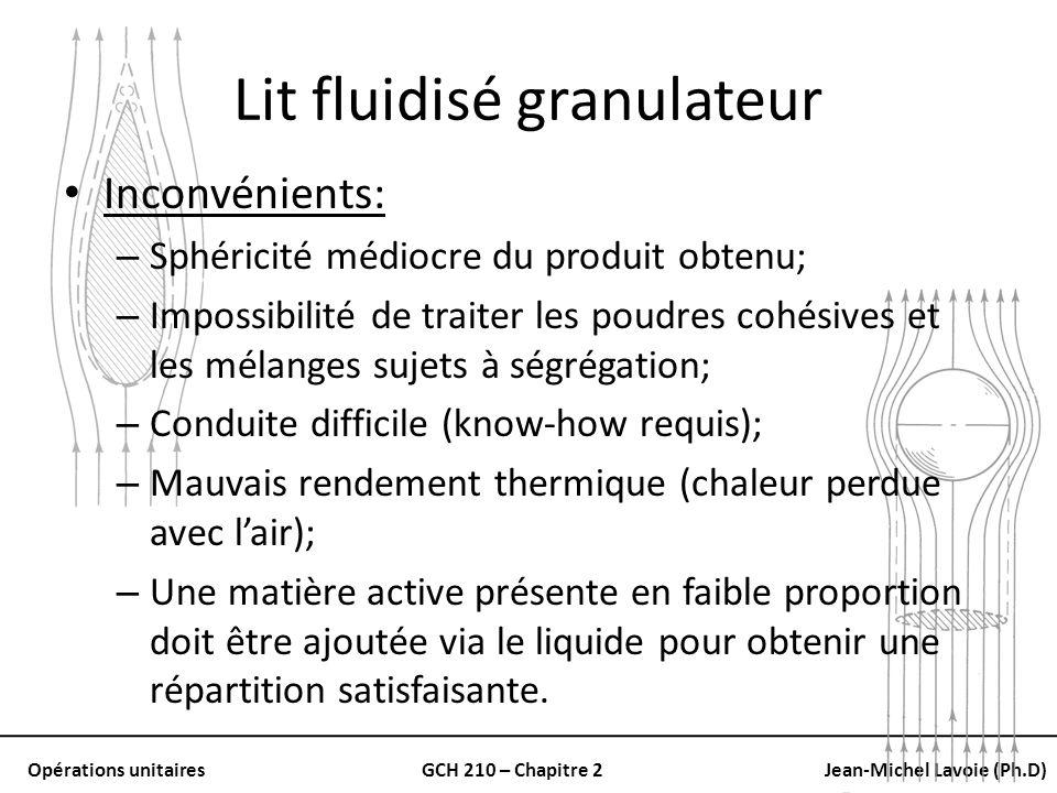 Opérations unitairesGCH 210 – Chapitre 2Jean-Michel Lavoie (Ph.D) Lit fluidisé granulateur Inconvénients: – Sphéricité médiocre du produit obtenu; – I