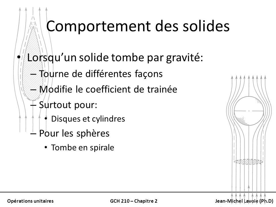 Opérations unitairesGCH 210 – Chapitre 2Jean-Michel Lavoie (Ph.D) Comportement des solides Lorsquun solide tombe par gravité: – Tourne de différentes