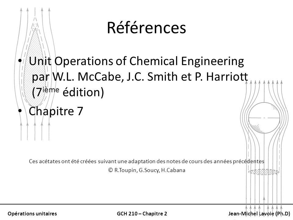 Opérations unitairesGCH 210 – Chapitre 2Jean-Michel Lavoie (Ph.D) À faible nRe Coefficient de trainée: – Inversement proportionnel à Re p – Ceci apporte des versions modifiées: C D, F D et u t