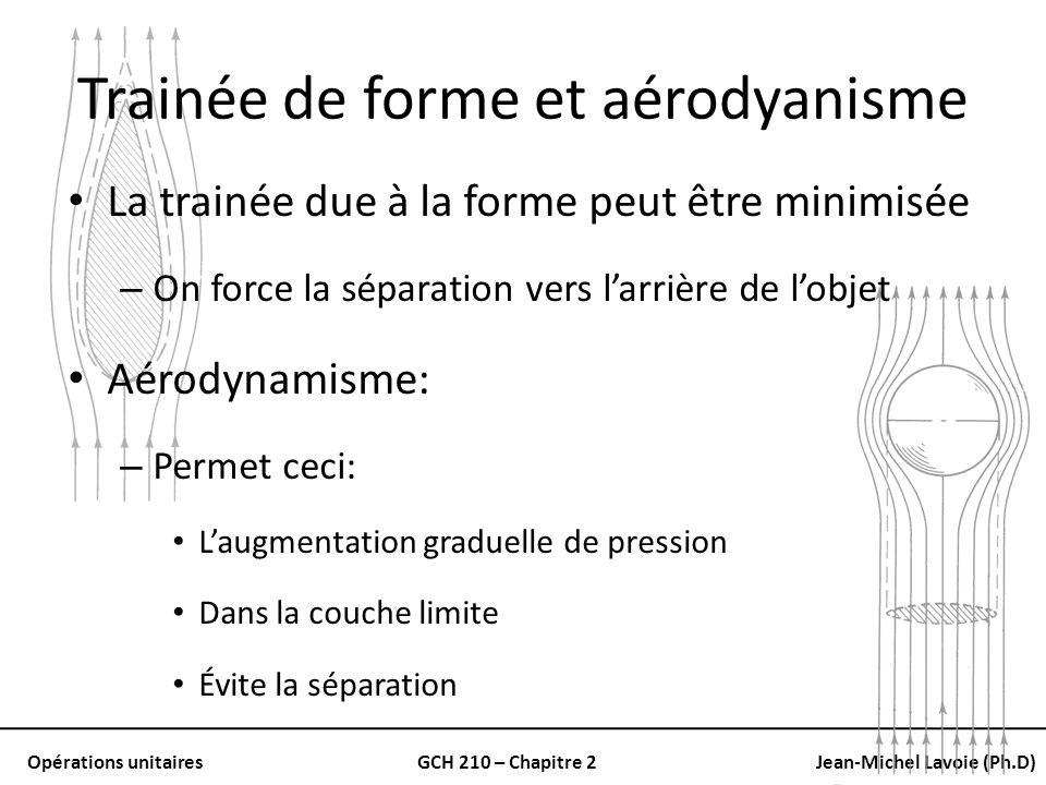 Opérations unitairesGCH 210 – Chapitre 2Jean-Michel Lavoie (Ph.D) Trainée de forme et aérodyanisme La trainée due à la forme peut être minimisée – On