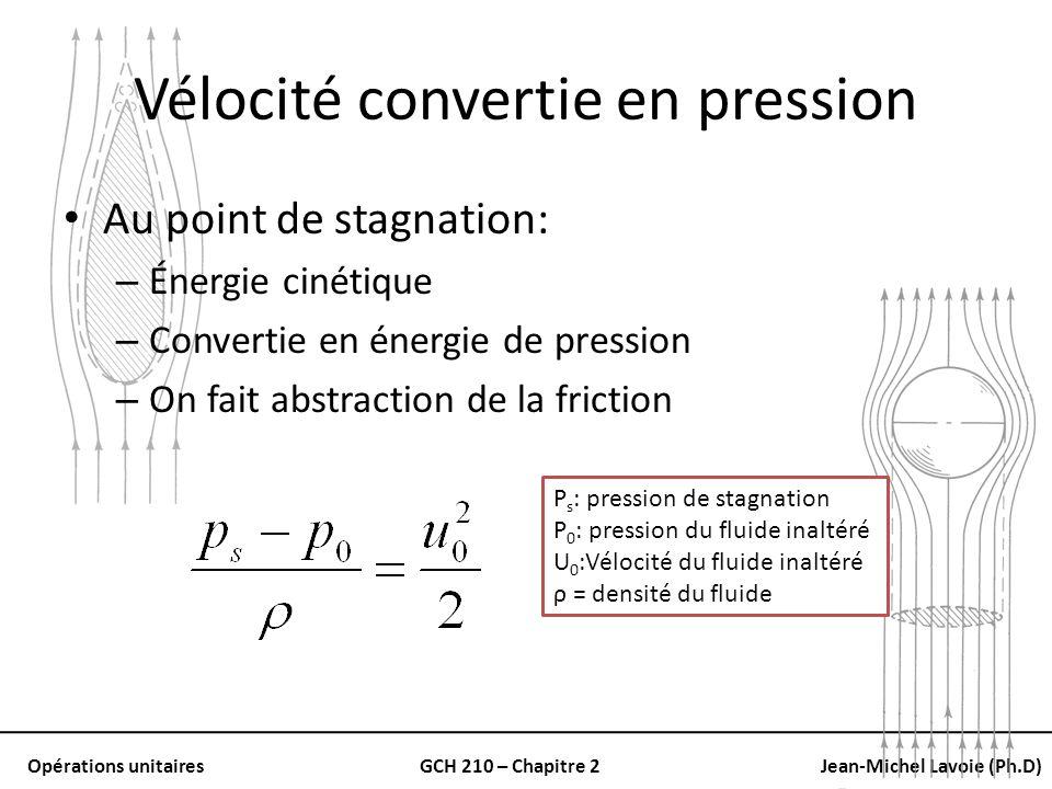 Opérations unitairesGCH 210 – Chapitre 2Jean-Michel Lavoie (Ph.D) Vélocité convertie en pression Au point de stagnation: – Énergie cinétique – Convert