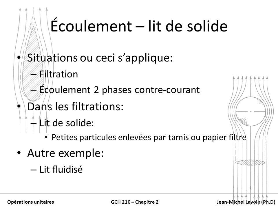 Opérations unitairesGCH 210 – Chapitre 2Jean-Michel Lavoie (Ph.D) Écoulement – lit de solide Situations ou ceci sapplique: – Filtration – Écoulement 2