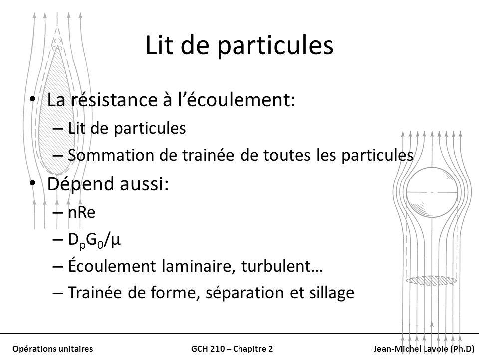Opérations unitairesGCH 210 – Chapitre 2Jean-Michel Lavoie (Ph.D) Lit de particules La résistance à lécoulement: – Lit de particules – Sommation de tr