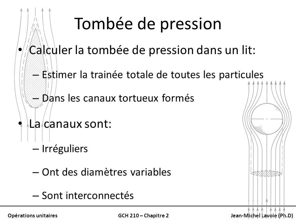 Opérations unitairesGCH 210 – Chapitre 2Jean-Michel Lavoie (Ph.D) Tombée de pression Calculer la tombée de pression dans un lit: – Estimer la trainée