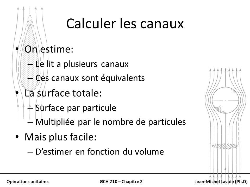Opérations unitairesGCH 210 – Chapitre 2Jean-Michel Lavoie (Ph.D) Calculer les canaux On estime: – Le lit a plusieurs canaux – Ces canaux sont équival
