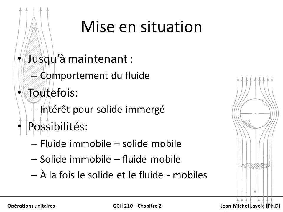 Opérations unitairesGCH 210 – Chapitre 2Jean-Michel Lavoie (Ph.D) Mise en situation Jusquà maintenant : – Comportement du fluide Toutefois: – Intérêt