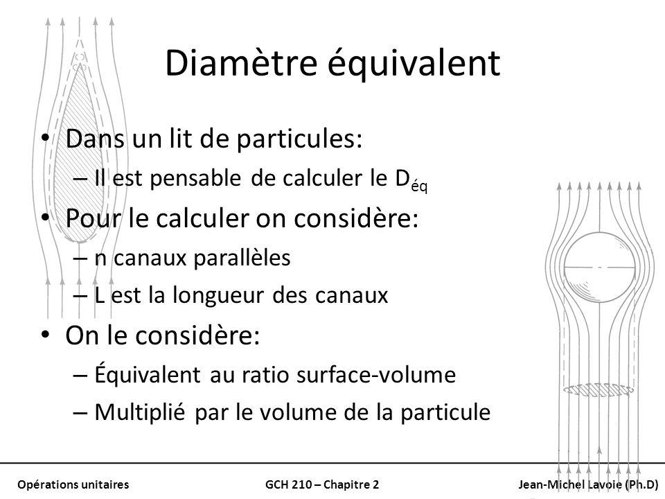 Opérations unitairesGCH 210 – Chapitre 2Jean-Michel Lavoie (Ph.D) Diamètre équivalent Dans un lit de particules: – Il est pensable de calculer le D éq