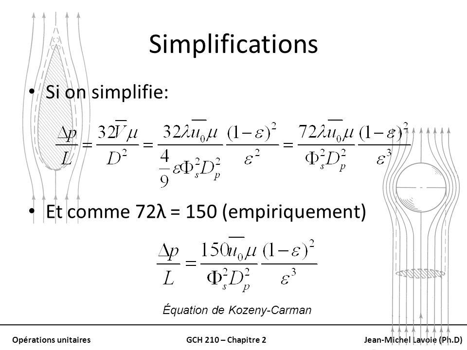 Opérations unitairesGCH 210 – Chapitre 2Jean-Michel Lavoie (Ph.D) Simplifications Si on simplifie: Et comme 72λ = 150 (empiriquement) Équation de Koze