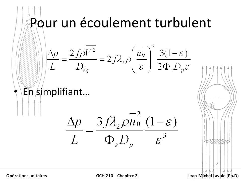 Opérations unitairesGCH 210 – Chapitre 2Jean-Michel Lavoie (Ph.D) Pour un écoulement turbulent En simplifiant…