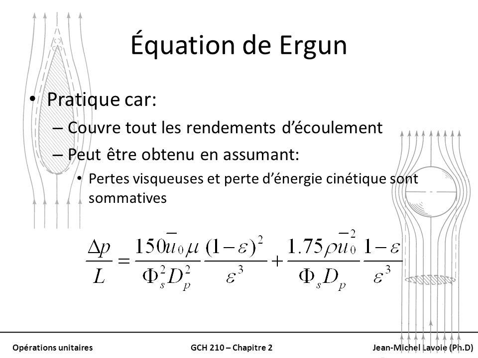 Opérations unitairesGCH 210 – Chapitre 2Jean-Michel Lavoie (Ph.D) Équation de Ergun Pratique car: – Couvre tout les rendements découlement – Peut être