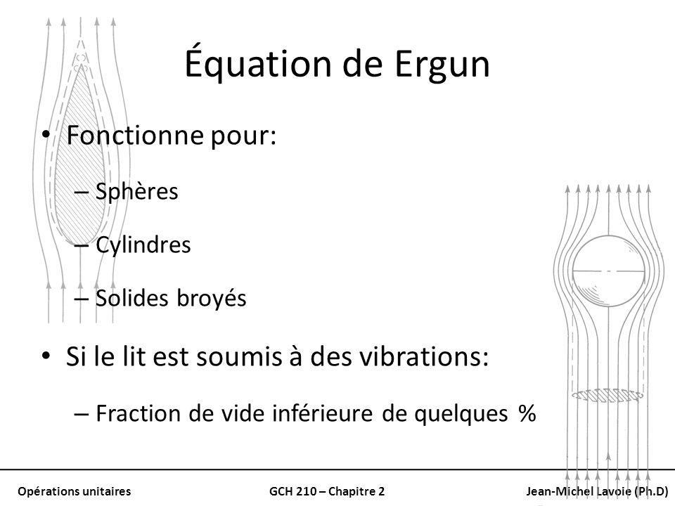 Opérations unitairesGCH 210 – Chapitre 2Jean-Michel Lavoie (Ph.D) Équation de Ergun Fonctionne pour: – Sphères – Cylindres – Solides broyés Si le lit