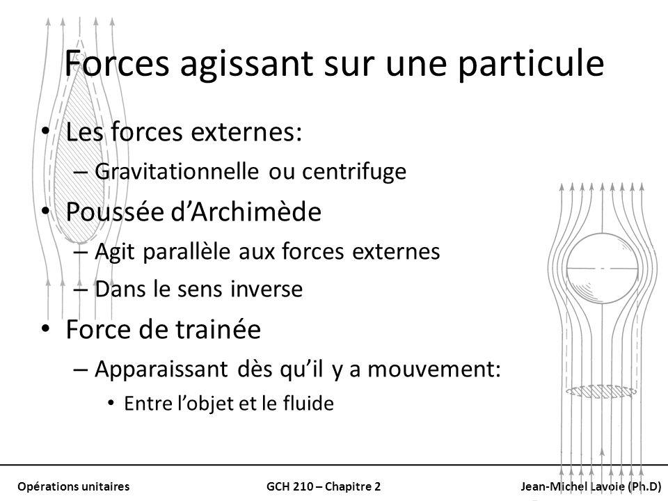 Opérations unitairesGCH 210 – Chapitre 2Jean-Michel Lavoie (Ph.D) Forces agissant sur une particule Les forces externes: – Gravitationnelle ou centrif