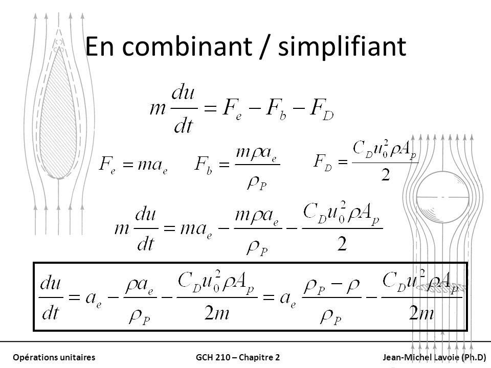 Opérations unitairesGCH 210 – Chapitre 2Jean-Michel Lavoie (Ph.D) En combinant / simplifiant