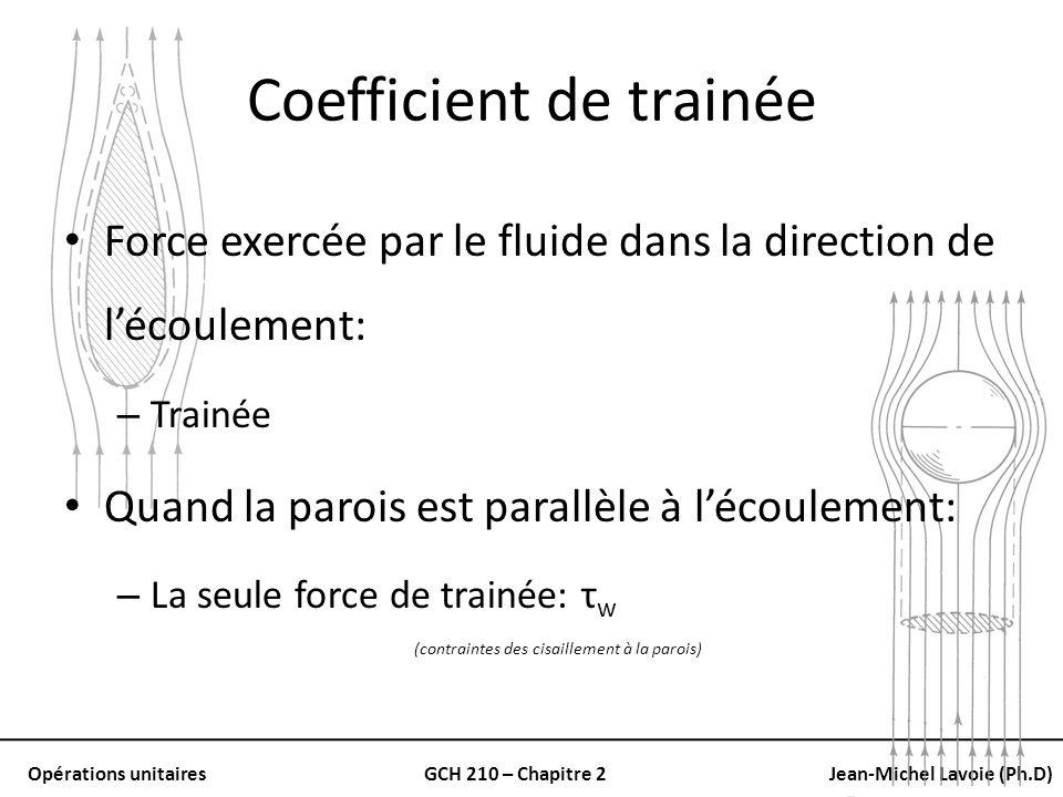 Opérations unitairesGCH 210 – Chapitre 2Jean-Michel Lavoie (Ph.D) Coefficient de trainée Force exercée par le fluide dans la direction de lécoulement: