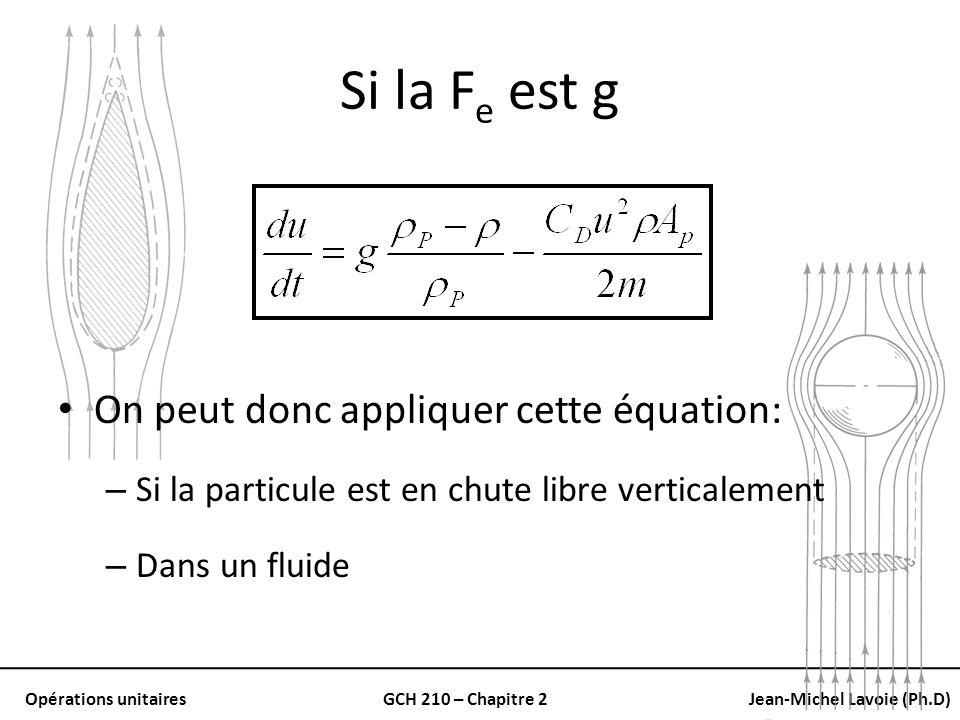 Opérations unitairesGCH 210 – Chapitre 2Jean-Michel Lavoie (Ph.D) Si la F e est g On peut donc appliquer cette équation: – Si la particule est en chut