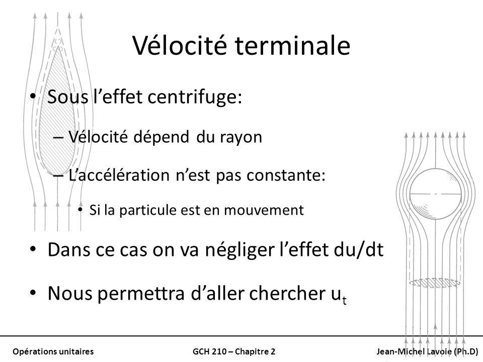 Opérations unitairesGCH 210 – Chapitre 2Jean-Michel Lavoie (Ph.D) Vélocité terminale Sous leffet centrifuge: – Vélocité dépend du rayon – Laccélératio