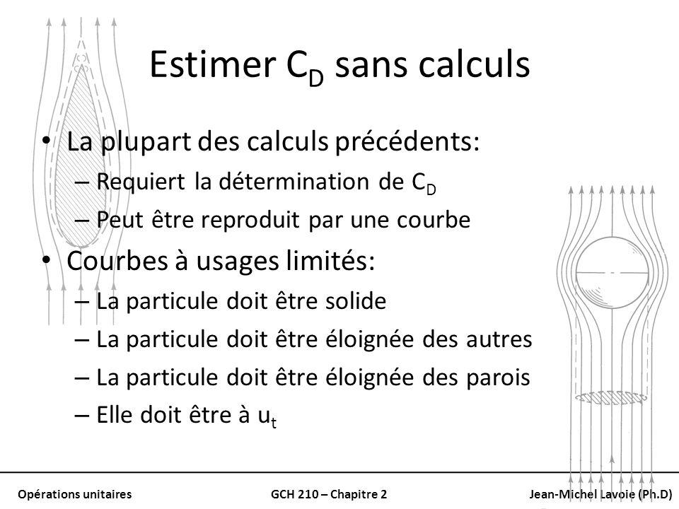 Opérations unitairesGCH 210 – Chapitre 2Jean-Michel Lavoie (Ph.D) Estimer C D sans calculs La plupart des calculs précédents: – Requiert la déterminat
